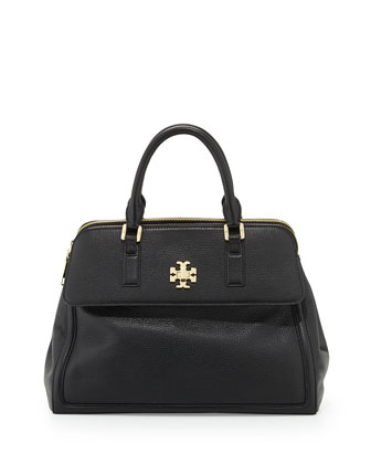 Mercer Leather Dome Satchel Bag, Black