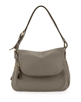 Jennifer Large Leather Shoulder Bag, Graphite