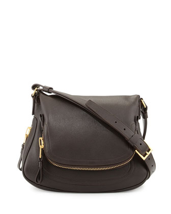 Jennifer Medium Calfskin Shoulder Bag, Dark Brown