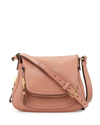 Jennifer Calfskin Crossbody Bag, Rose