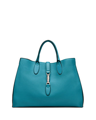 Jackie Soft Leather Top Handle Bag, Cobalt