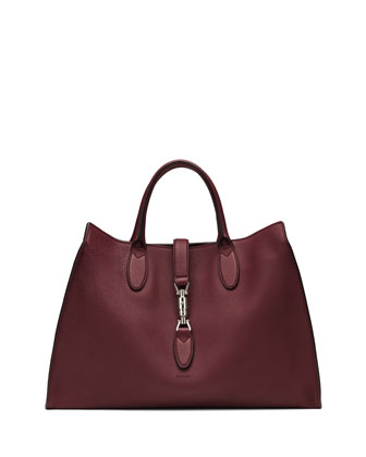 Jackie Soft Leather Top Handle Bag, Bordeaux
