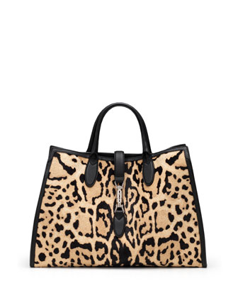 Jackie Soft Leopard-Print Calf Hair Top Handle Bag