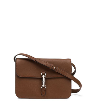 Jackie Soft Leather Flap Shoulder Bag, Luggage Brown