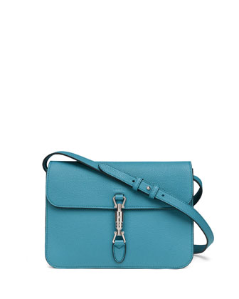 Jackie Soft Leather Flap Shoulder Bag, Cobalt