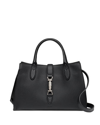 Jackie Soft Leather Top Handle Bag, Black