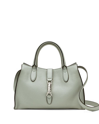Jackie Soft Leather Top Handle Bag, Light Blue