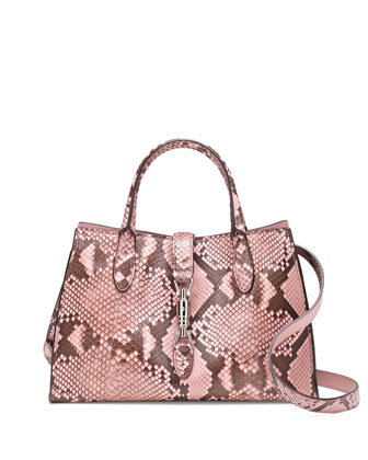 Jackie Soft Python Top Handle Bag, Pink Multi