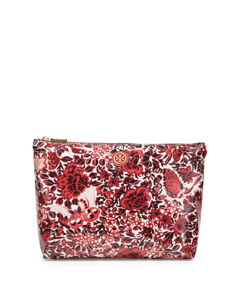 Printed Large Slouchy Cosmetic Case, Kyoto Red