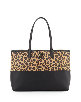 Kerrington Grainy Vinyl Shopper Bag, Ocelot