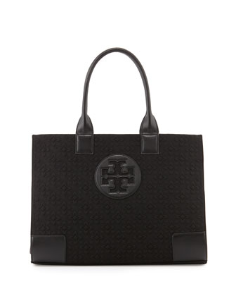Ella Damask Tote Bag, Black