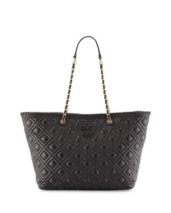 Marion Small Quilted Tote Bag, Black