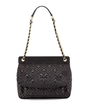 Marion Quilted Leather Shoulder Bag, Black