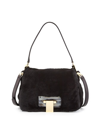 Fun Flap-Top Fur Hobo Bag, Black