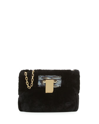 Fun Fur Flip-Lock Shoulder Bag, Black