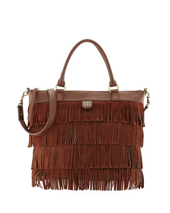 Leather Fringe Tote Bag, Chocolate