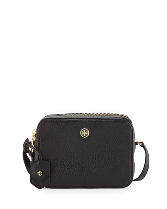 Robinson Double-Zip Shrunken Leather Crossbody Bag, Black