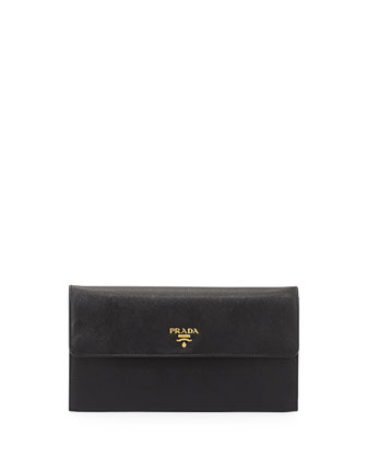 Saffiano Flap Travel Wallet, Black (Nero)
