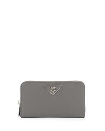 Saffiano Triangle Zip-Around Wallet, Gray (Marmo)