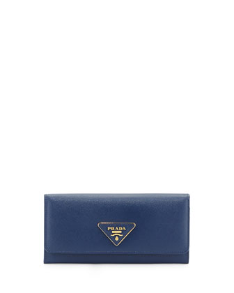 Saffiano Triangle Continental Flap Wallet, Blue (Bluette)