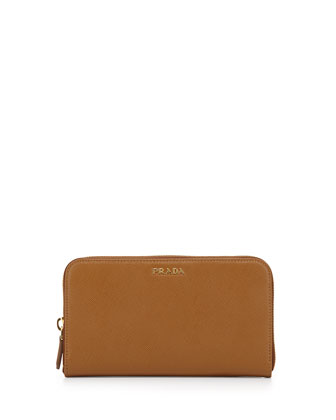 Saffiano Double Bicolor Wallet, Camel/Red (Caramello+Fuoco)