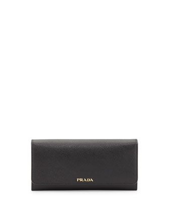 Saffiano Bicolor Flap Wallet, Black/Red (Nero+Fuoco)
