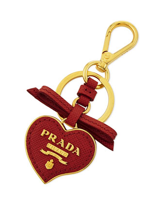 Saffiano Leather Heart Key Chain, Red Fuoco