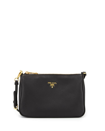 Vitello Grain Small Shoulder Bag, Black (Nero)