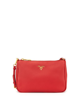 Vitello Grain Small Shoulder Bag, Red (Fuoco)