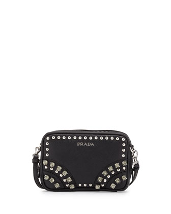 Saffiano Crystal Crossbody Bag, Black (Nero)