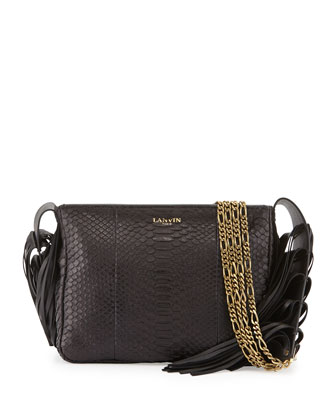 Tribale Python Fringe Shoulder Bag, Black