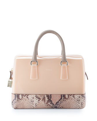 Candy Medium Snake-Print Duffel Bag, Blush