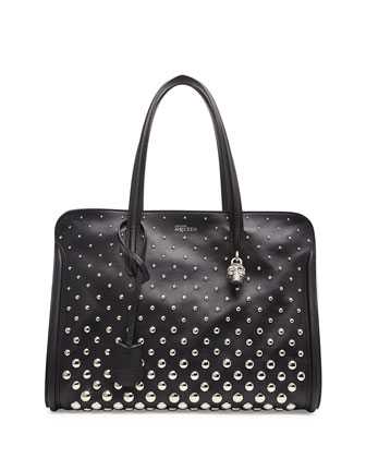 Padlock Studded Zip Satchel Bag, Black/White