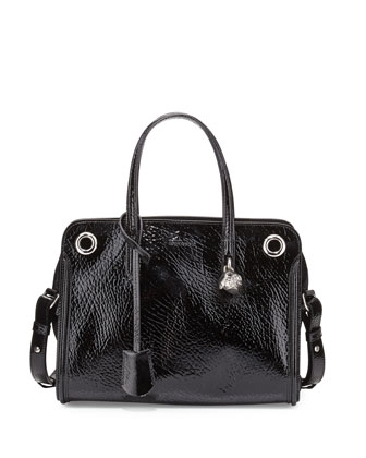 Patent Small Eyelet Padlock Satchel Bag, Black