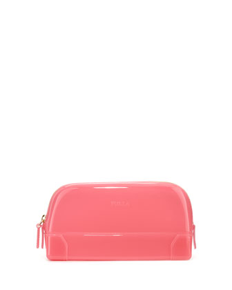 Rubber Extra-Large Cosmetics Bag, Rose Pink