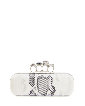 Python Long Knuckle-Duster Clutch Bag, Ivory/Black