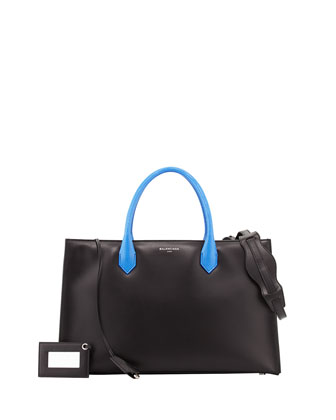 Padlock Nude Works Tote Bag, Black/Cobalt