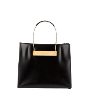 Cable Strap Small Shopper Bag, Black