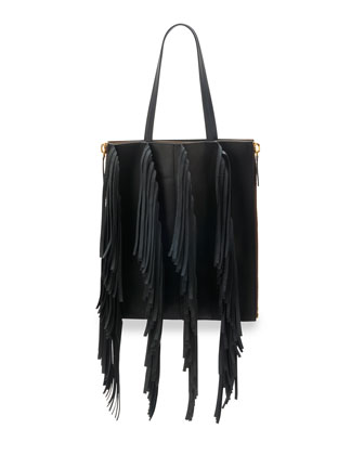 Fringe Leather Shopping Tote Bag, Black/Gray