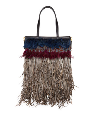 Feathered Shopping Tote Bag, Multi