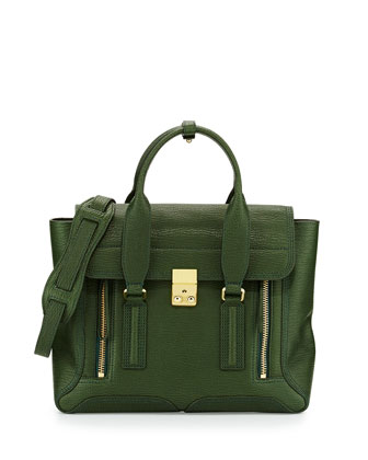 Pashli Medium Zip Satchel Bag, Jade