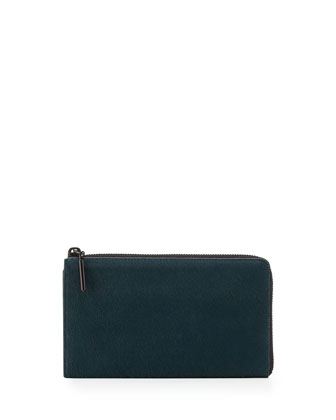 31 File Folder Calf Hair Zip Wallet, Teal