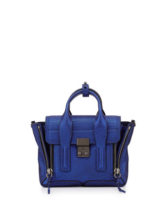 Pashli Mini Metallic Satchel Bag, Electric Blue
