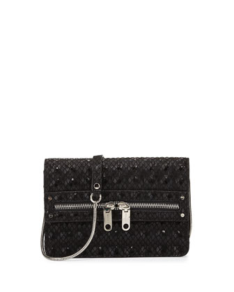 Bowery Snake-Print Hologram Crossbody Bag, Black