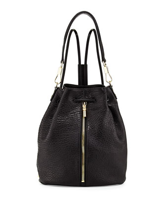 Cynnie Leather Drawstring Backpack, Black