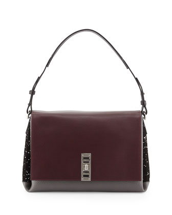 Elliot Calfskin Shoulder Bag, Burgundy