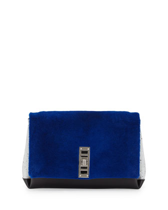 PS Elliot Leather & Shearling Fur Clutch Bag, Cobalt/Black
