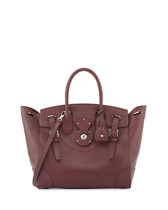Soft Ricky 33 Medium Calfskin Satchel Bag, Bordeaux