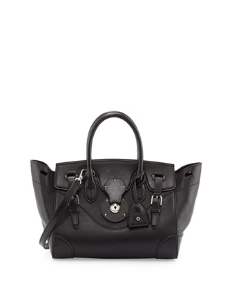 Soft Ricky 27 Calfskin Satchel Bag, Black