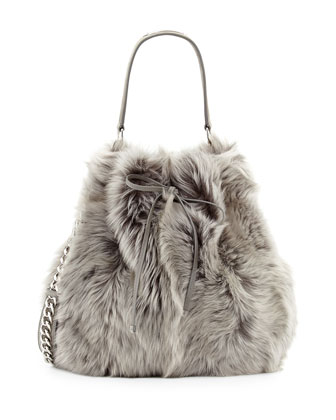Shearling Fur Bucket Bag, Gray